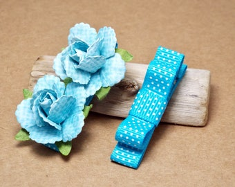 Blue Baby Hair Clips, Toddler Hair Bows, Girls Hair Bows, Hair Clip Set, Flower Hair Clips, Roses, Alligator Clips, Sky Blue