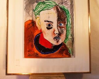 Child, coloured pencils, wax painter, awake painter, hipster type, 2017, 43 x 29, colourful, multi colored, portraits, modern art, modern art, mixed media,.