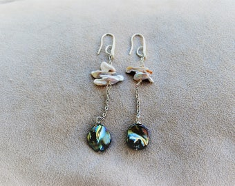 Long earrings with hand made River Pearls (BO42)