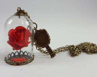 Beauty and the Beast Necklace - Enchanted Rose Necklace - Cosplay - Belle Party - Belle Necklace - Rose Vial Necklace