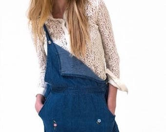 London Vintage Denim Dress With Floral Embroidery