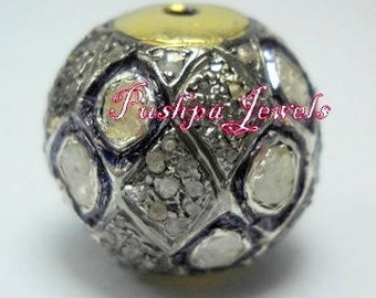 Victorian style Rose cut Pave diamond large polki diamond 16mm Bead Ball jewelry making / jewelry finding/ bracelets and necklace - PJBE2006
