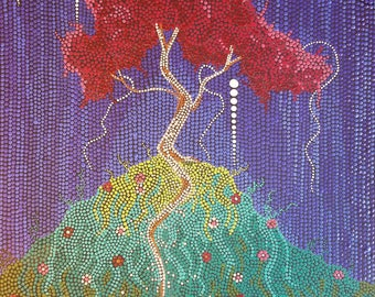 Red Bud, Acrylic, Painting, Dot Art, Abstract Art, Aboriginal Inspired, 16x 20""