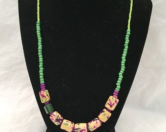 Polymer Clay Confetti Beaded Necklace/Earring Set
