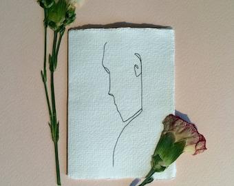 Original hand drawn A7 greeting card envelope fine line portrait