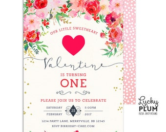Valentines Birthday Invitation / Valentines Invitation / Cupid Heart Birthday Invitation / First Birthday Invite Printable VL01