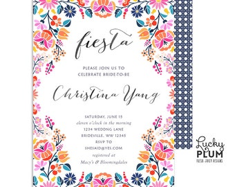 Fiesta Bridal Shower Invitation / Mexican Bridal Shower Invitation / Bridal Shower Invitation / Fiesta Invitation / Printable FT02