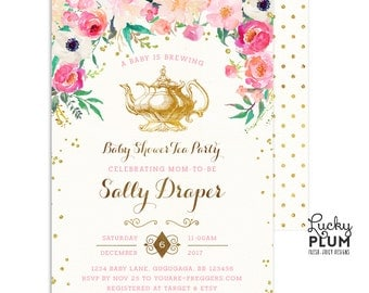 High Quality Tea Party Baby Shower Invitation / Couples Baby Shower Invitation / Kitchen Tea  Invitation / Tea
