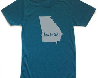 georgia tshirt, georgia tee, bazinga graphic t, state pride tshirt, unisex, silkscreened tshirt, witty tshirt, men's gift, free ship
