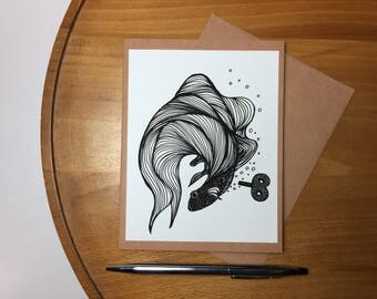 Overwound Wind Up Toy, Beta Fish Note Card - Original Ink Drawing Print