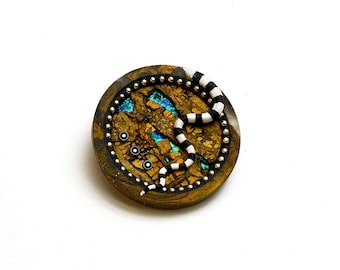 Pin brooch pendant necklace Round circle polymer clay iridescent blue green colors faux rock opal sterling silver beads black white elements