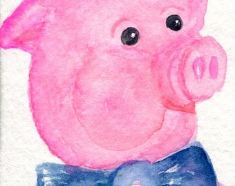 ACEO Original Pig Watercolor Painting, a Dapper pig portrait
