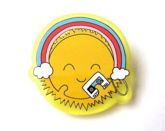 Happy Sun with Walkman Acrylic Brooch Pin