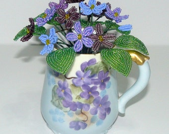 French Beaded Flowers Variety of Violets in Beautiful French Violet Cup