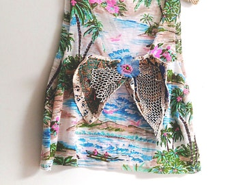 Big Bow Island Crop Top, Upcycled, Tropical, Patchwork Bow, Silk Bow, Silver Mesh, Crop Top, Palm Trees, Beach