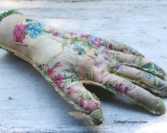 Spare Hand, Life Size, Vintage Patchwork, Hand, Vintage Embroidery, Hand Crafted, Body Part, Handy, Home Decor, Eclectic Decor, Textile Art