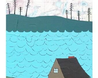 NEW // Lake Cabin Map Print // Modern Kid Room // Cabin Art // Modern Nursery // Lake Art // Rachel Austin Art 11x14