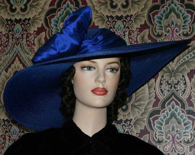 Featured listing image: Women's Kentucky Derby Hat Ascot Edwardian Tea Hat Titanic Hat Somewhere in Time Hat Downton Abbey Hat Cobalt Blue Hat  - Titanic