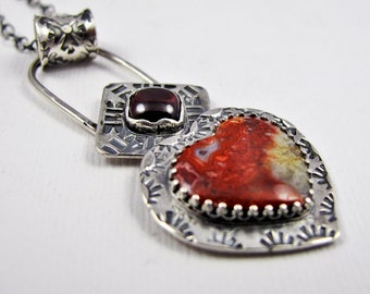 Crazy Lace Agate Heart & Square Garnet Necklace - Red Valentine - Handmade Sterling Silver Pendant