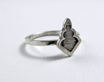 Plume Ring - Sterling Silver rings  - Stamped leaf ring - tribal boho bohemian ring - Stacking Ring