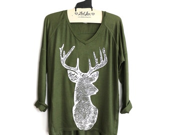 S- Olive SUPER SOFT V-NeckTop with Deer Screen print