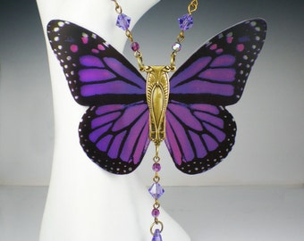 Butterfly Necklace Violet Pink Art Nouveau Vintage Inspired Butterfly Jewelry
