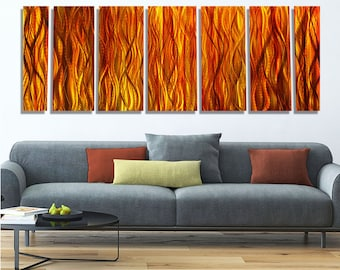 Huge Multi Panel Modern Metal Wall Art in Red & Golden Orange, Abstract Painting, Contemporary Home Decor - Amber Reeds XL by Jon Allen