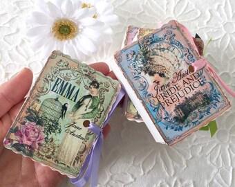 Jane Austen Mini Book Party Favors | Miniature Books | Birthday Shower Tea | Emma Persuasion Mansfield Park Pride Prejudice | Personalize 12