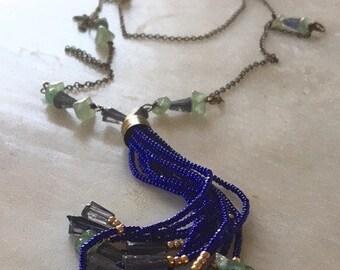 Tassel Necklace, Gemstone Tassel Necklace, Iolite Necklace, Long Necklace