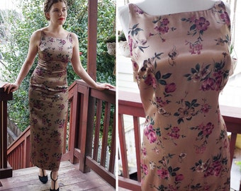 Floral SATIN 1990's Vintage Long Sleevless Satin Dress w/ Mauve Flowers // by Decked Out // size Small 34