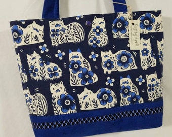 Calico Kitties Cats on Blue Flowers purse tote bag