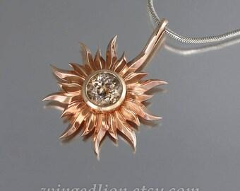 SUN 14k rose gold pendant with Morganite