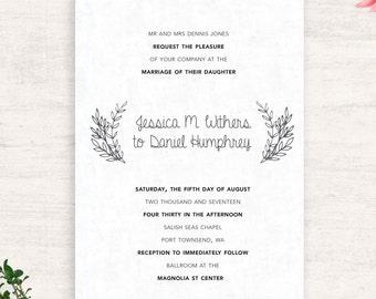 Wedding Invitation Suite / Botanical wedding / Printable invitations /  Laurel Leaf Wedding / Print at Home / Summer Wedding