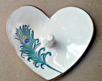Ceramic Ring Holder Bowl  Off White Cream colored peacock feather gold edged engagement ring holder