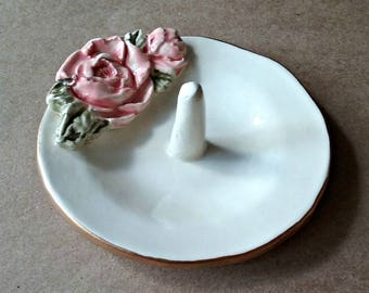 Ceramic Ring Holder Bowl with Gold edging Coral Rose OFF WHITE
