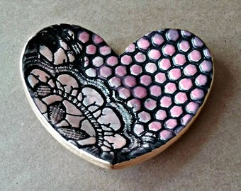 Ceramic Heart Ring Dish Pink edged in gold