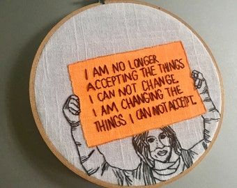 Ani + Angela - hand drawn and embroidered feminist wall hanging featuring Ani DiFranco at an Anti Trump Rally