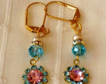 Pink and Aqua Earrings With Pearls