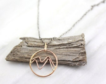 Gold Mountain Range and Oxidized Silver Necklace