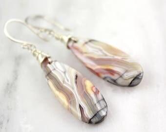 Laguna Lace Agate Teardrop Earrings