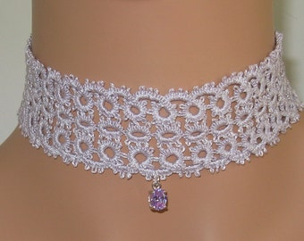 Hand-Tatted Choker - Very Light Antique Violet with CZ Oval Charm - CH2