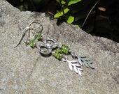 Peridot & Sterling Leaf earrings Springtime Lisa New Design