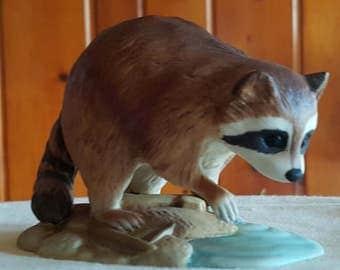 Porcelain Ceramic Raccoon by Andrea of Sadek 1984 #7001 Fine Art Collectible Vintage Figurine Wildlife Woodland Rustic Home Decor Japan