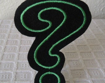 The Riddler Question Mark Embroidered Iron On Patch, Black Green, Comic Book Villain, Embroidered Applique, Comic Con, Halloween Costume