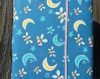 Book Bag, Cloth Book Sleeve, Book Protector, Book Cover, Cloth Book Cover, Fabric Book Pouch, Fabric Book Cover, Gift, Moons Stars Bees
