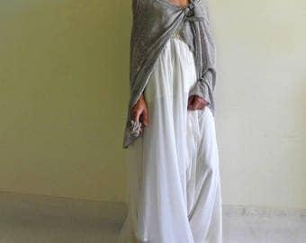 silk velvet scarf, wedding silk shawl, bridal shawl, pearl gray shawl