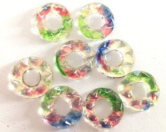 VIntage glass cabs (6) round multicolor faceted donut hole deco  14mm flower cabs cabochons  (6)