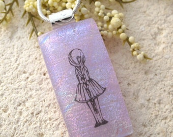 Lavender Girl, Little Girl, Braided Girl Necklace, Dichroic Necklace, Fused Glass Jewelry, Dichroic Pendant, Lavender Necklace, 102716p101r