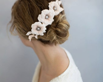 Bridal clay flower headpiece - Dramatic triple floral hair comb - Style 756 - Made to Order