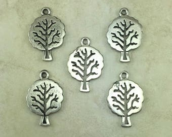 Tree of Life harm > Mother Nature Oak Bodhi Summer Spring Leaves Arbor - Raw American Made Lead Free Silver Pewter - I Ship Internationally